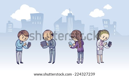 A diverse group of people using their smart phones - stock vector