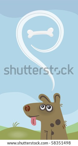 A dog is dreaming of a bone. - stock vector