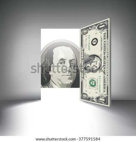 A dollar bill door beckons you to enter prosperity & Dollar Bill Door Beckons You Enter Stock Vector 377591584 ...
