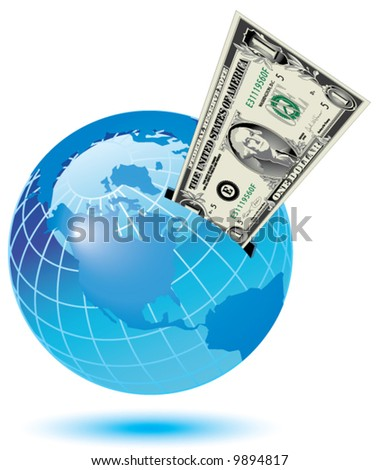 A dollar bill sticking out of a slot on the earth - stock vector