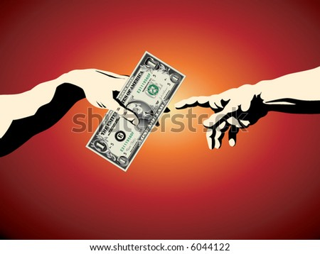 """A dollar is passed from one hand to another in this """"creation of Adam"""" business background - stock vector"""