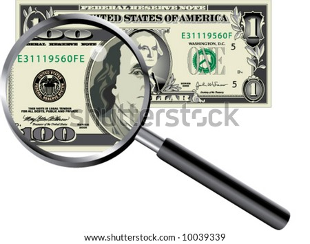 A dollar magnified to find a 100 dollar bill
