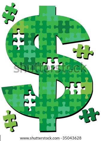 A dollar sign jigsaw puzzle with pieces to symbolize financial money solutions. - stock vector