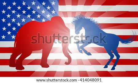 A donkey and elephant silhouettes fighting, concept for the presidential election or politics in general