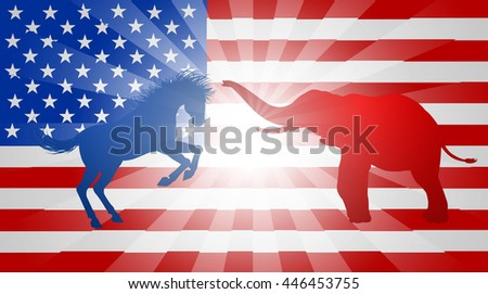 A donkey and elephant silhouettes fighting.  Mascot animals of American democratic and republican parties, concept for the presidential election or politics in general