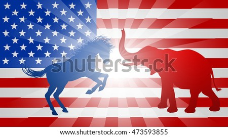A donkey or jackass and elephant silhouettes with an American flag in the background.