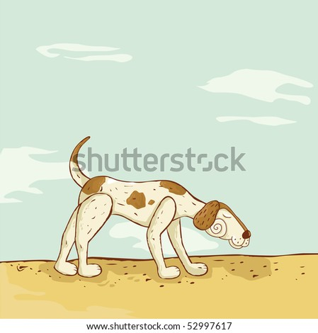 A doodle searching dog - stock vector