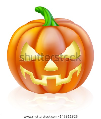 A drawing of a cartoon Halloween pumpkin with classic scary face carved into it