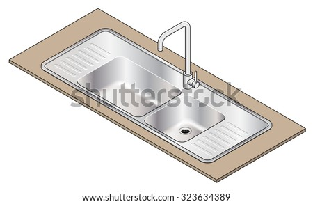 A drop-on double bowl stainless steel kitchen sink with a swivel mixer tap. - stock vector
