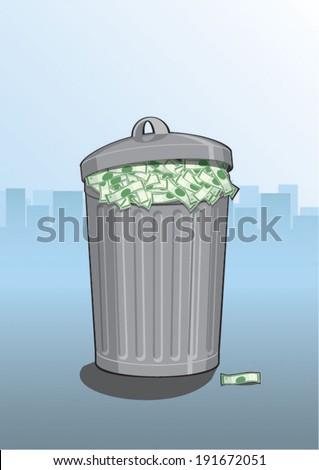 A dustbin full of money  - stock vector