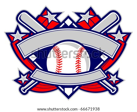 A dynamic baseball template featuring stars, banners and crossed bats. - stock vector
