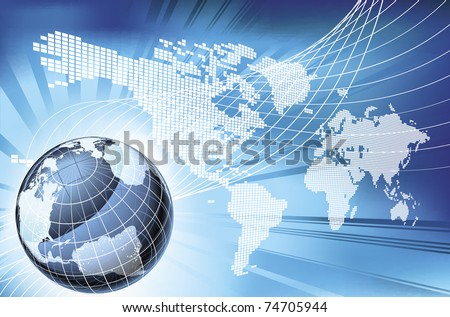 A dynamic 3d world map with background - stock vector