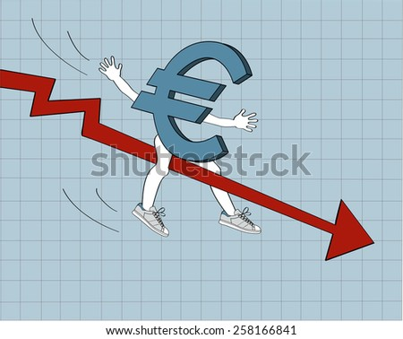 A euro sliding down on a red arrow