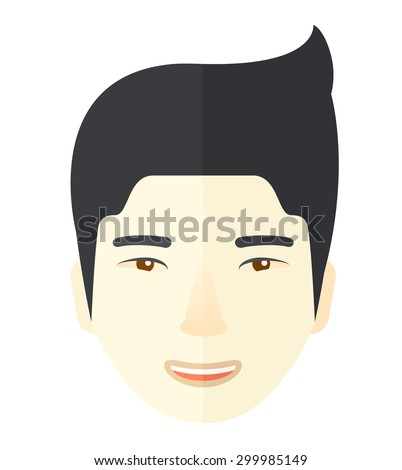 A face of a happy and good looking chinese guy with his hairstyle. A Contemporary style. Vector flat design illustration isolated white background. Square layout - stock vector
