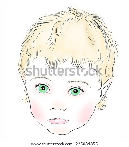 A face of small blond child with sad emotion. Vector sketch with color elements, isolated on white background. - stock vector