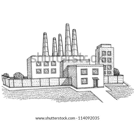 A Factory buildings - stock vector