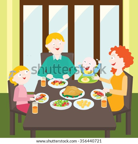 A Family Around Table Eating Dinner