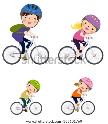 A Family Biking Together - stock vector
