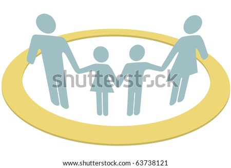 Family Hold Hands Safe Inside Circle Stock Vector Royalty Free