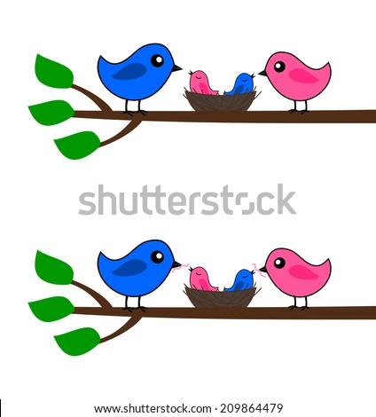 a family of birds - stock vector