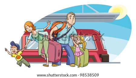 A family with two kids going on vacation by train. Vector. People are grouped separately and can be moved and scaled against background. - stock vector
