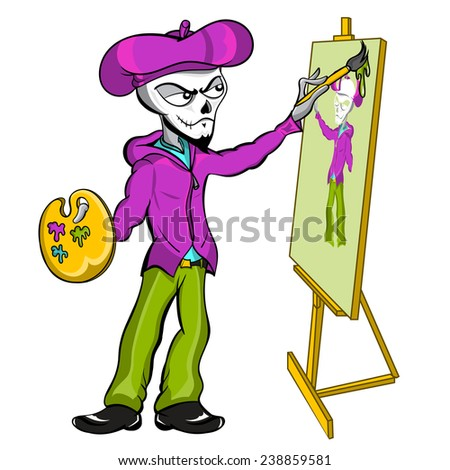 A fantasy vector cartoon illustration of a zombie skeleton mime artist painting himself on an art canvas.  - stock vector