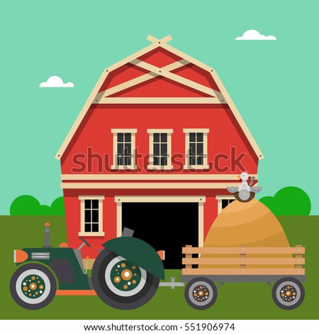 A Farm With Barn And Tractor Hay Chicken Vector Illustration Of Rural