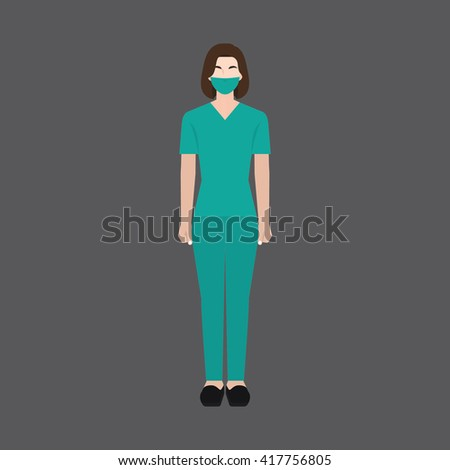 A female avatar of professions people. Full body. Flat style icons. Occupation avatar. Female surgeon icon. Vector illustration - stock vector
