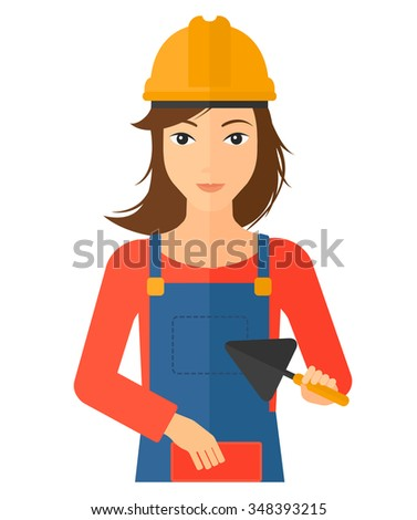 A female bricklayer with a spatula and a brick in hands vector flat design illustration isolated on white background. Vertical layout. - stock vector