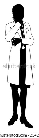 A female doctor with white coat and stethoscope in silhouette with hand on chin in thought - stock vector