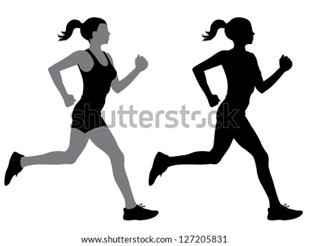 A female jogger in silhouette profile. 2 slightly different versions offered. - stock vector
