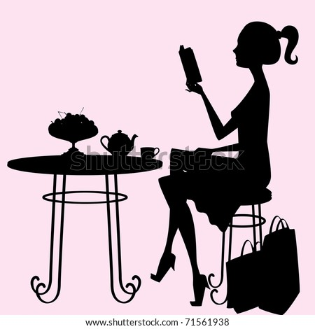 A female silhouette sitting at a table, drinking tea and reading a book after a hard day of shopping! Objects on the table, shopping bags, hair, body, table and chair are each an individual object. - stock vector