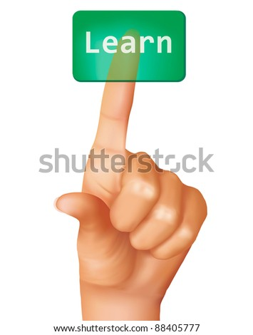 A finger pushing learn button. Vector illustration. - stock vector