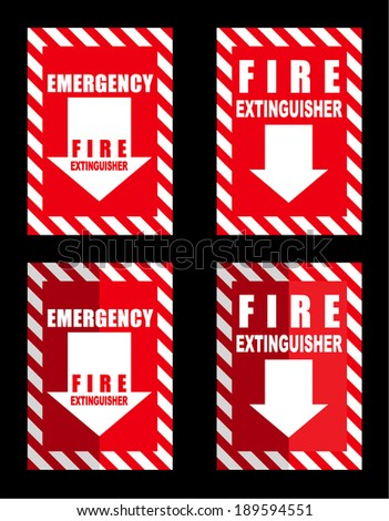 A fire extinguisher location sign for use in any safety inference - stock vector
