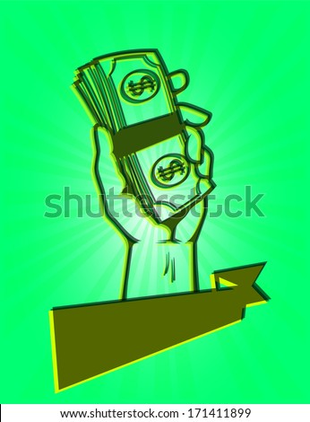 A fistful of money: Design of hand holding a stack of dollar bills - stock vector