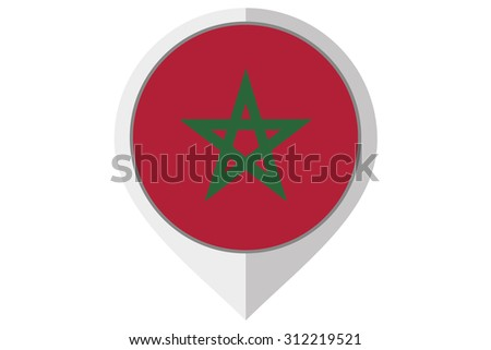 A Flag Illustration inside a pointed of the country of Morocco