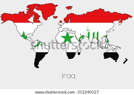 Flag illustration inside shape world map stock vector hd royalty a flag illustration inside the shape of a world map of the country of iraq gumiabroncs Gallery
