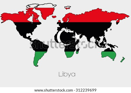 A Flag Illustration inside the shape of a world map of the country of Libya