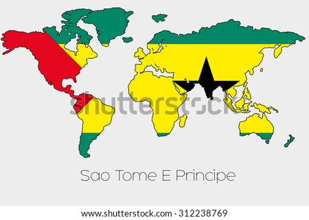A Flag Illustration inside the shape of a world map of the country of  Sao Tome E Principe