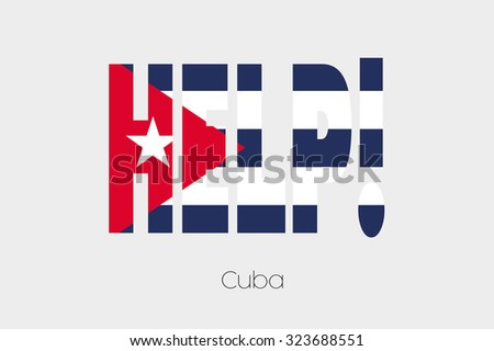 A Flag Illustration inside the word Help of the country of Cuba
