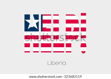 A Flag Illustration inside the word Help of the country of Liberia