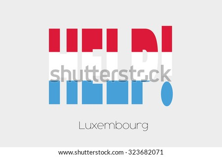 A Flag Illustration inside the word Help of the country of Luxembourg