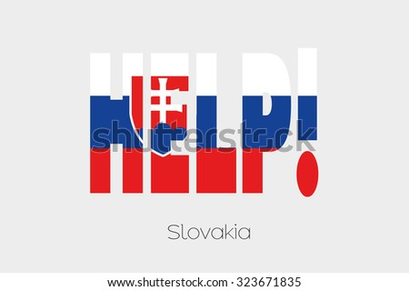 A Flag Illustration inside the word Help of the country of Slovakia