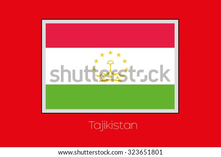 A Flag Illustration on a Red Background of the country of Tajikistan