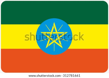A Flag Illustration with rounded corners of the country of Ethiopia