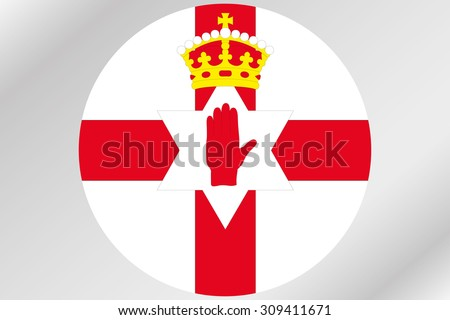 A Flag Illustration within a circle of the country of  Northern Ireland - stock vector