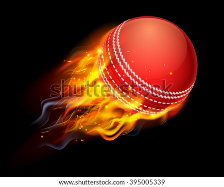 A flaming cricket ball on fire flying through the air - stock vector