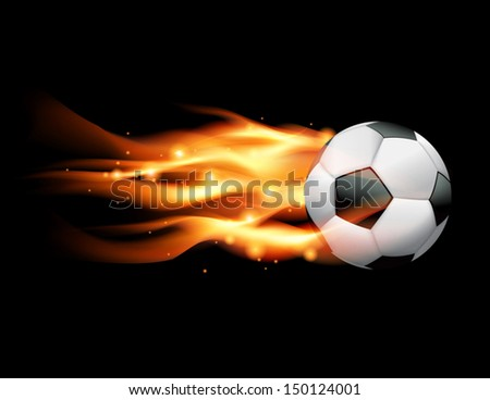A flaming soccer ball flying against a black background. Vector EPS 10. File contains transparencies and gradient mesh. - stock vector