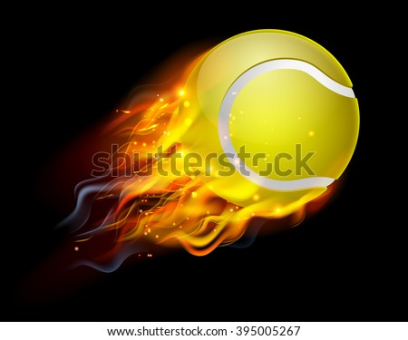 flaming tennis ball on fire flying stock vector 395005267