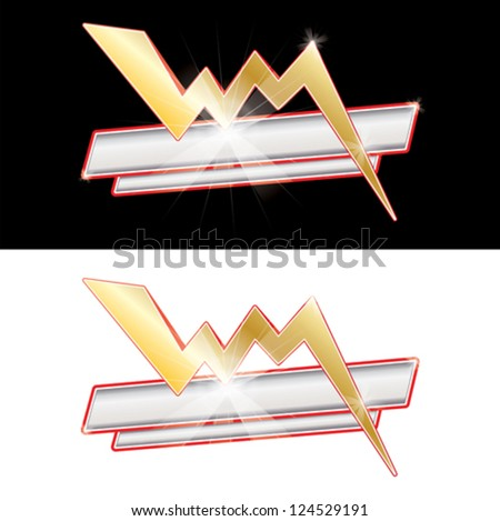A flash sign with copy space and sparkle - stock vector